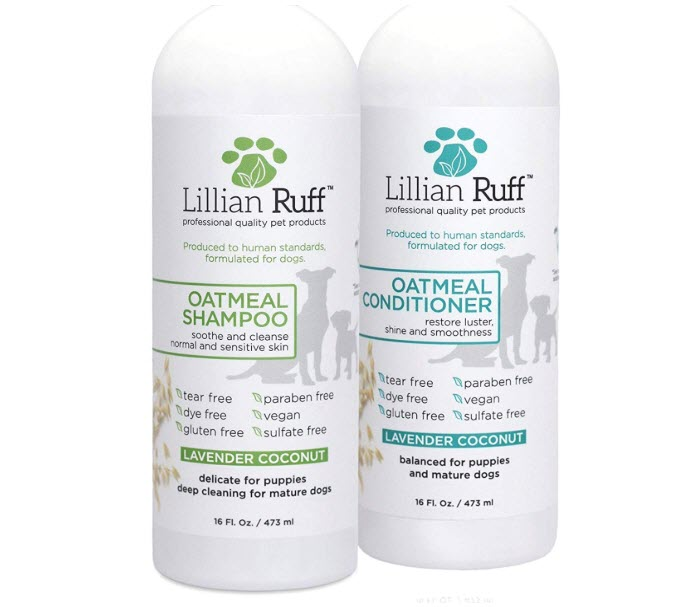 Lillian Ruff Dog Oatmeal Shampoo and Conditioner Set